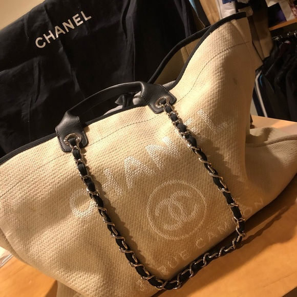 5e3461076 CHANEL Handbags - Authentic Chanel Deauville XL tote in Ecru